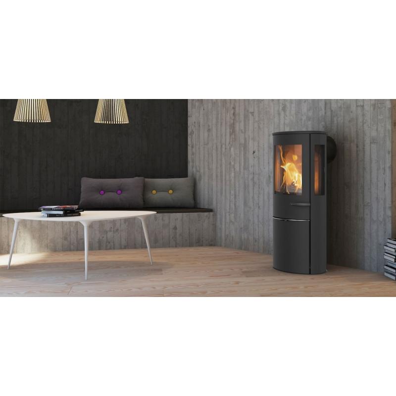 b n ficiez de la chaleur de ce po le bois scandinave lotus liva 6 g. Black Bedroom Furniture Sets. Home Design Ideas