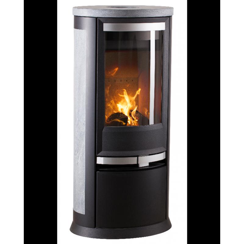 profitez promo sur po le bois scandinave heta oura 200 c t s acier. Black Bedroom Furniture Sets. Home Design Ideas